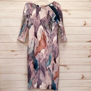 H&M Midi Dress Multi Color Pattern